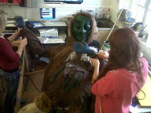 Puppet making workshop with local school pupils led by Nicky Baylis